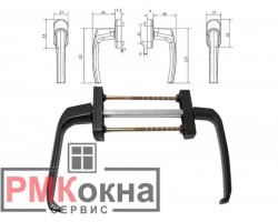 Балконный гарнитур асимметричный (ручка) для пластиковых балконных дверей BHS 1 ASTEX коричневый