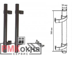 Ручка дверная (прямая) 500/30 ASTEX коричневая для пластиковых дверей