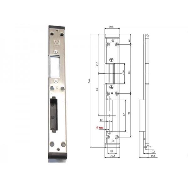 Дверная ответная планка для замка пастиковой двери 9 мм правая