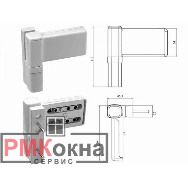 Петля дверная DHV универсальная для пластиковых (ПВХ) дверей