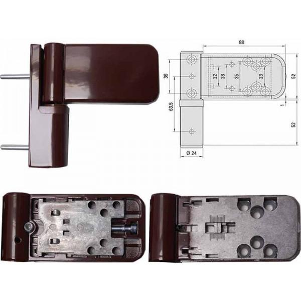 Петля для пластиковой (ПВХ) двери SIMONSWERK 3035, накладная, коричневая
