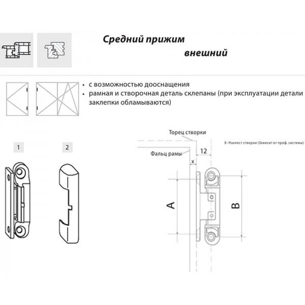 Накладной средний прижим 0° Siegenia для пластиковых окон и дверей