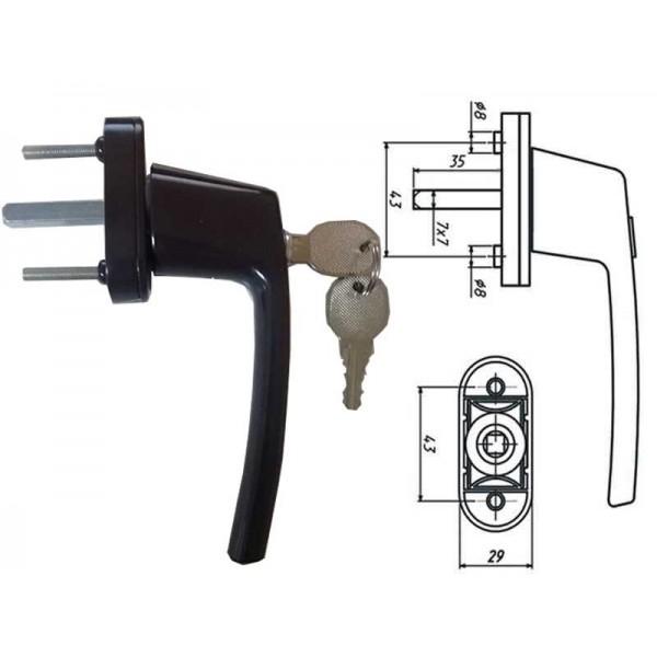 Коричневая ручка с замком для пластиковых (ПВХ) окон