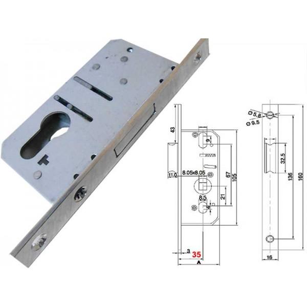 Замок Elementis 1168/F16/35/8 для пластиковых дверей защёлка